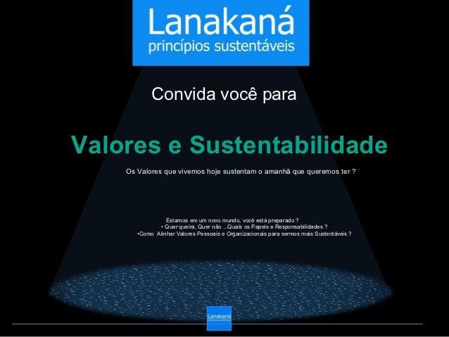 Convida você paraValores e Sustentabilidade    Os Valores que vivemos hoje sustentam o amanhã que queremos ter ?          ...