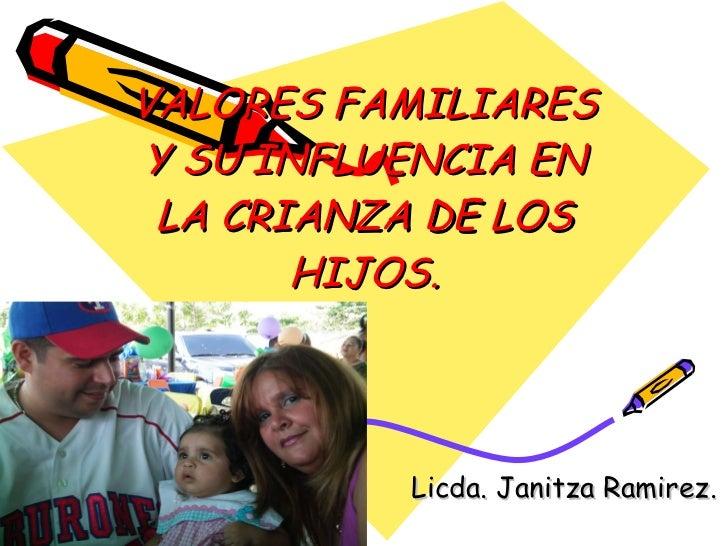 VALORES FAMILIARES Y SU INFLUENCIA EN LA CRIANZA DE LOS HIJOS. Licda. Janitza Ramirez.