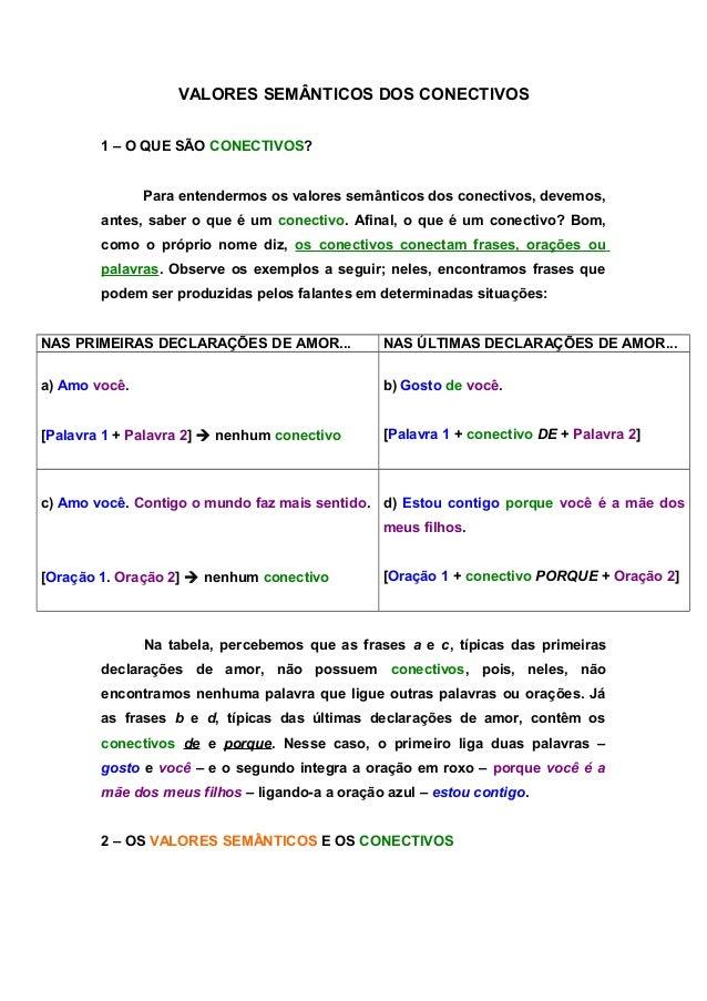 VALORES SEMÂNTICOS DOS CONECTIVOS  1 – O QUE SÃO CONECTIVOS?  Para entendermos os valores semânticos dos conectivos, devem...