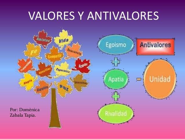 VALORES Y ANTIVALORES Por: Domènica Zabala Tapia.