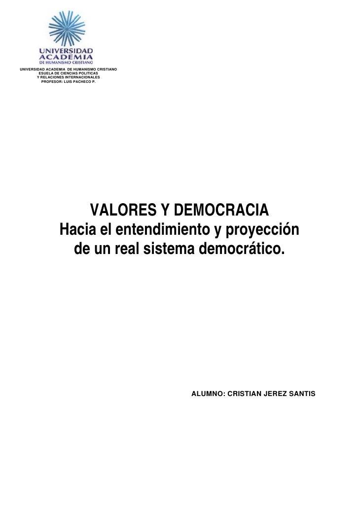 UNIVERSIDAD ACADEMIA DE HUMANISMO CRISTIANO         ESUELA DE CIENCIAS POLITICAS        Y RELACIONES INTERNACIONALES      ...