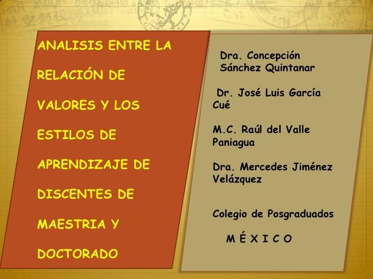 ANALISIS ENTRE LA<br />RELACIÓN DE<br />VALORES Y LOS <br />ESTILOS DE<br />APRENDIZAJE DE <br />DISCENTES DE <br />MAESTR...