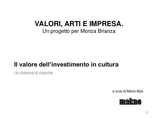 VALORI, ARTI E IMPRESA. Un progetto per Monza Brianza  Il valore dell'investimento in cultura Un sistema di ricerche  a cu...