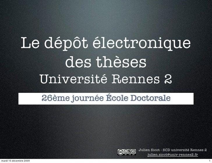 Enjeux de la diffusion des Thèses à l'université Rennes 2