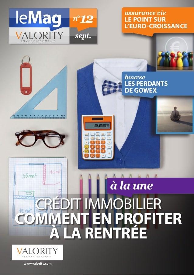 assurance vie  le point sur  l'euro-croissance  à la une  n° 12  sept.  CRÉDIT IMMOBILIER  COMMENT EN PROFITER  À LA RENTR...