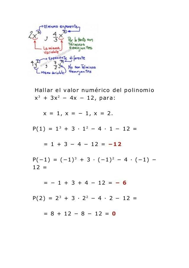 Valor Numérico De Un Polinomio