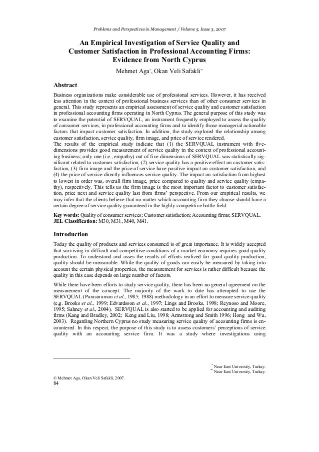 Problems and Perspectives in Management / Volume 5, Issue 3, 2007          An Empirical Investigation of Service Quality a...