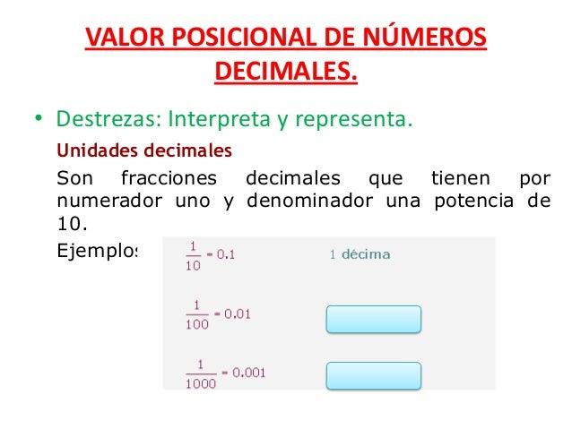 VALOR POSICIONAL DE NÚMEROS DECIMALES. • Destrezas: Interpreta y representa. Unidades decimales Son fracciones decimales q...