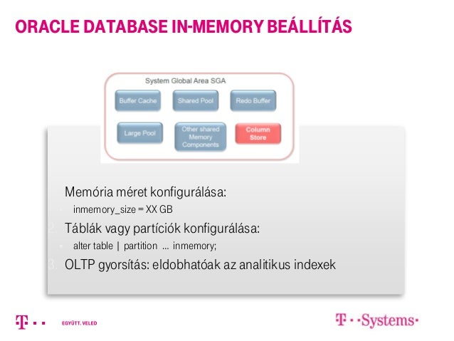 1. Memória méret konfigurálása:  inmemory_size = XX GB 2. Táblák vagy partíciók konfigurálása:  alter table | partition ...