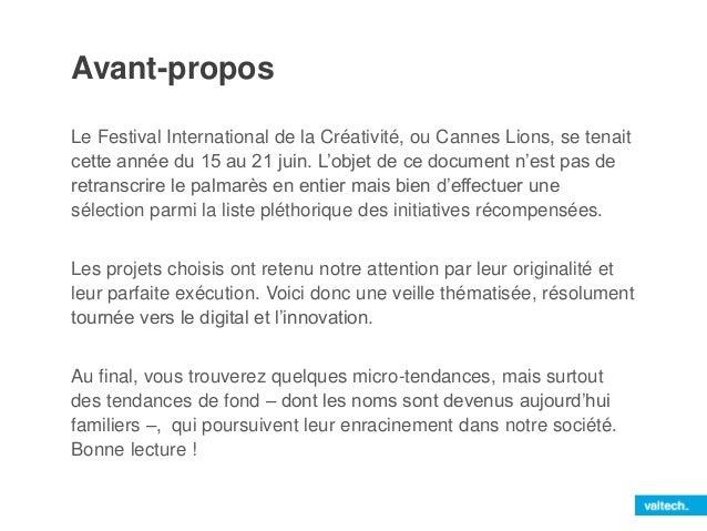 [Veille thématique et décryptage] Cannes Lions 2014 Slide 2