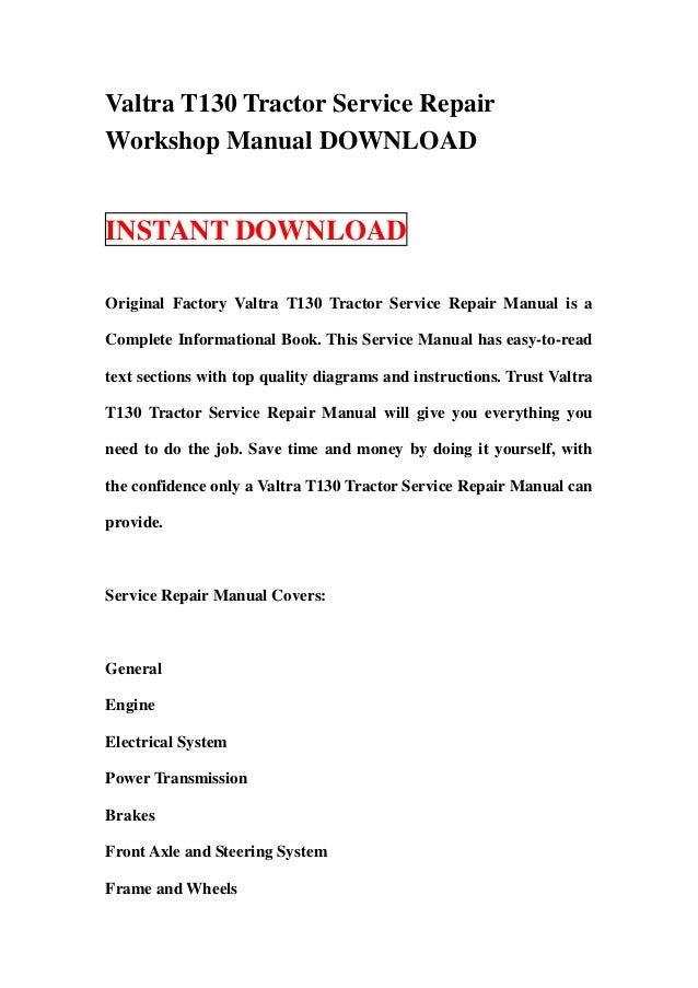Valtra t130 tractor service repair manual download