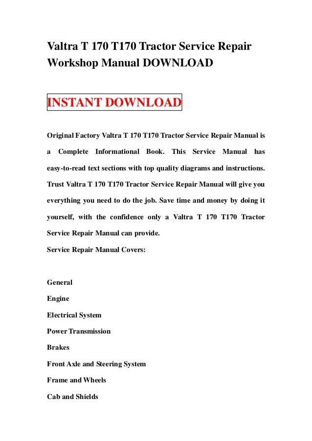 valtra t 170 t170 tractor service repair workshop manual download rh slideshare net