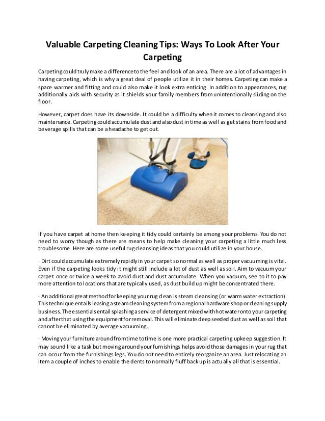 Valuable carpeting cleaning tips