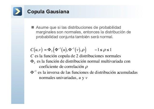 Copula Gausianan Asume que si las distribuciones de probabilidadmarginales son normales, entonces la distribución deprob...