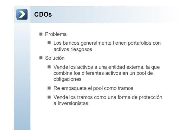 CDOsn Probleman Los bancos generalmente tienen portafolios conactivos riesgososn Soluciónn Vende los activos a una...
