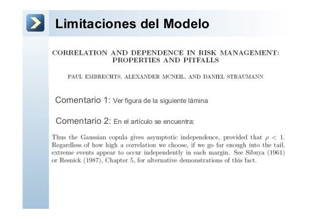 Limitaciones del ModeloComentario 1: Ver figura de la siguiente láminaComentario 2: En el artículo se encuentra: