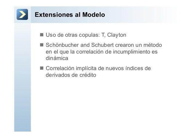 Extensiones al Modelon Uso de otras copulas: T, Claytonn Schönbucher and Schubert crearon un métodoen el que la correl...