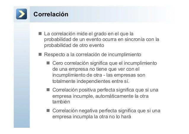 Correlaciónn La correlación mide el grado en el que laprobabilidad de un evento ocurra en sincronía con laprobabilidad d...