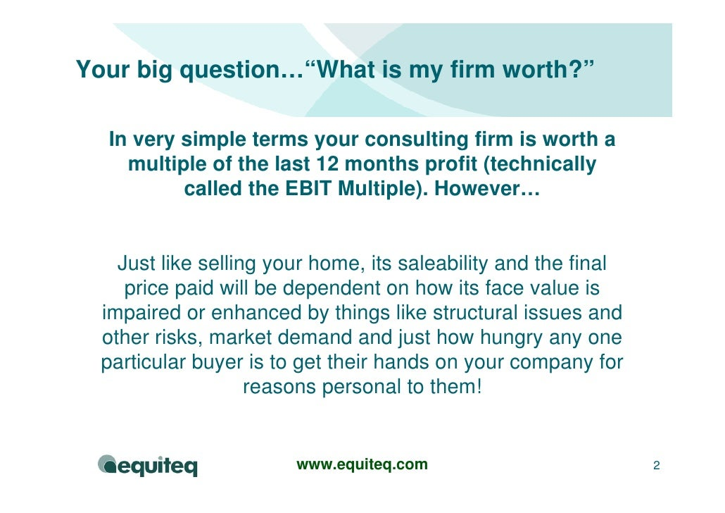 Consulting Company Valuation Model Slide 2