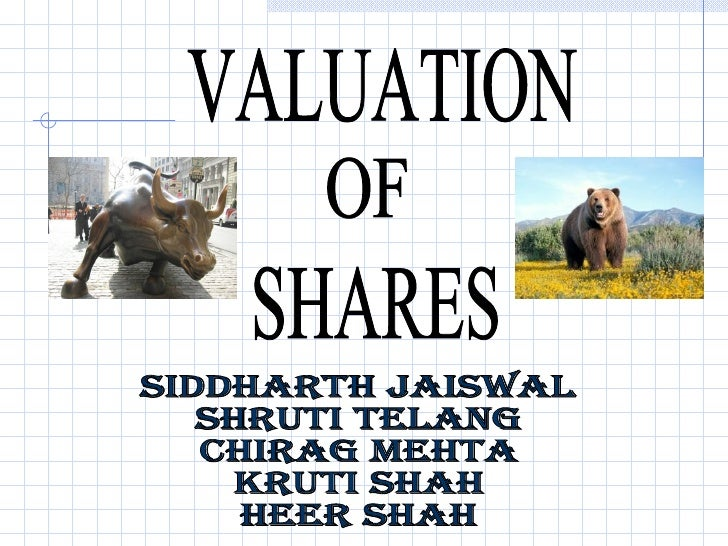 VALUATION OF SHARES Siddharth Jaiswal Shruti Telang Chirag Mehta Kruti Shah Heer Shah