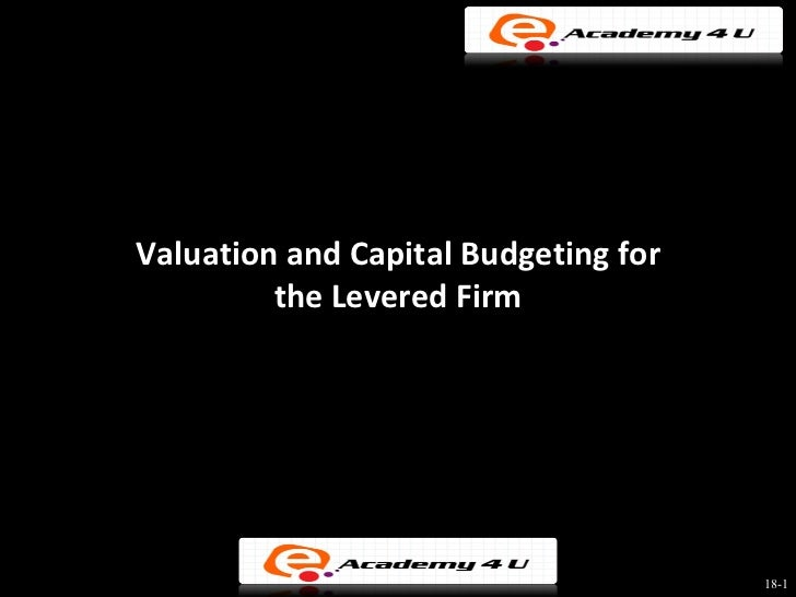valuation and capital budgeting Outline target leverage ratio southwest: fixed versus random levels of debt the wacc method avco industries project valuation using wacc the wacc/apv link.