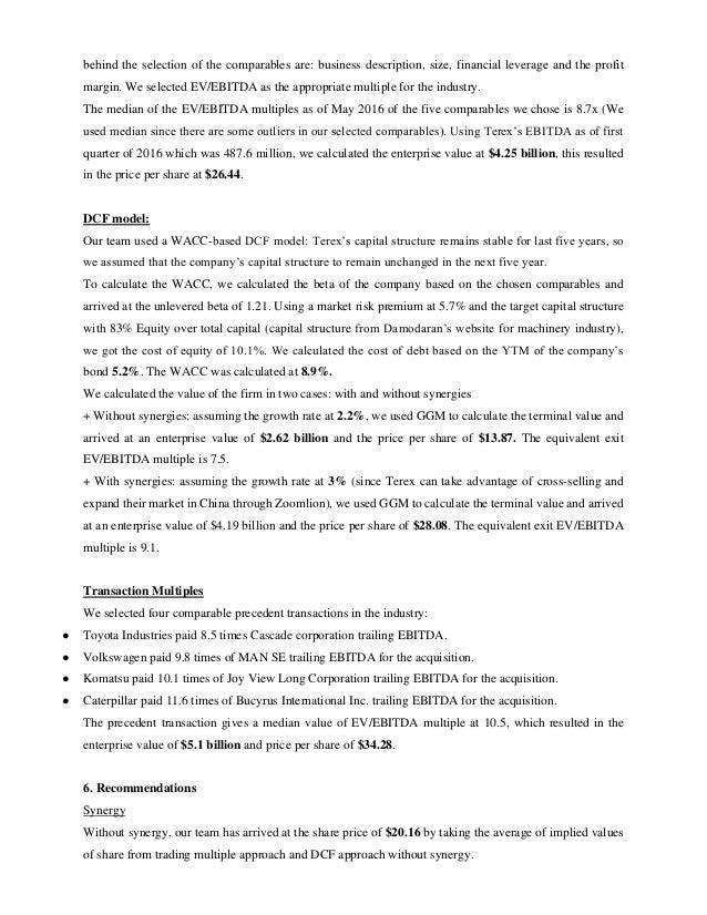 Valuation report of acquisition of Terex Corporation by ZoomLion