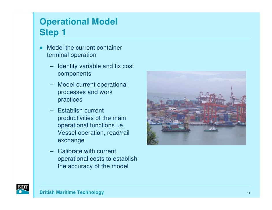 Operational Model Step 1    Model the current container    terminal operation     – Identify variable and fix cost       c...