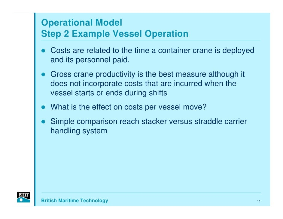 Operational Model Step 2 Example Vessel Operation    Costs are related to the time a container crane is deployed    and it...