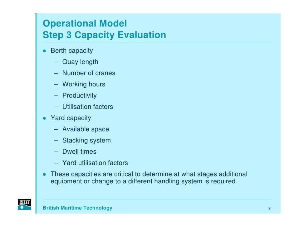Operational Model Step 3 Capacity Evaluation    Berth capacity     – Quay length     – Number of cranes     – Working hour...