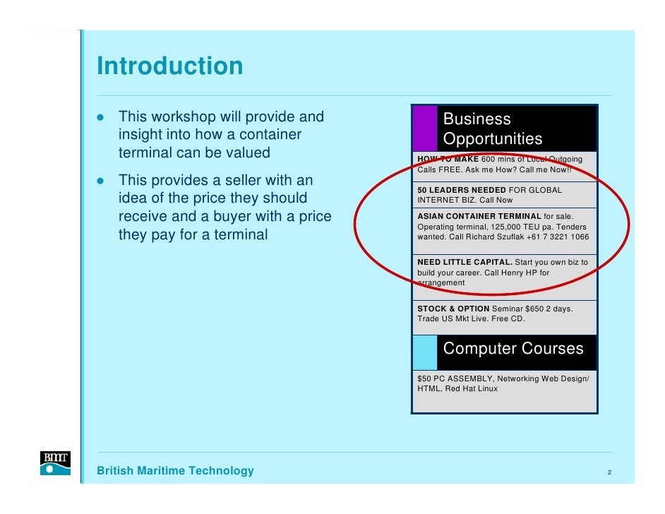 Introduction    This workshop will provide and           Business    insight into how a container             Opportunitie...