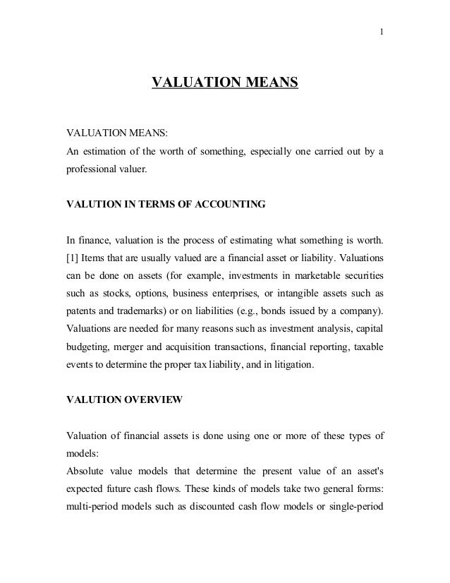 need for valuation of goodwill