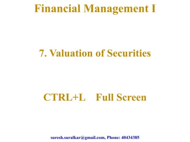 Valuation of securities   1
