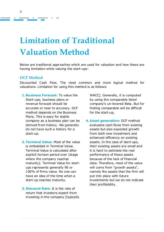 Valuation of Startups [with limitation of traditional