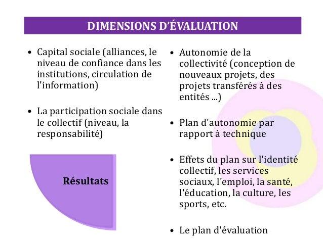 DIMENSIONS D'ÉVALUATION • Capital sociale (alliances, le niveau de confiance dans les institutions, circulation de l'infor...