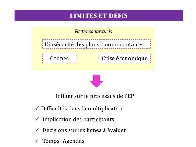 Fondement théorique et développement de la première proposition • Analyse de la littérature sur les processus d'évaluation...