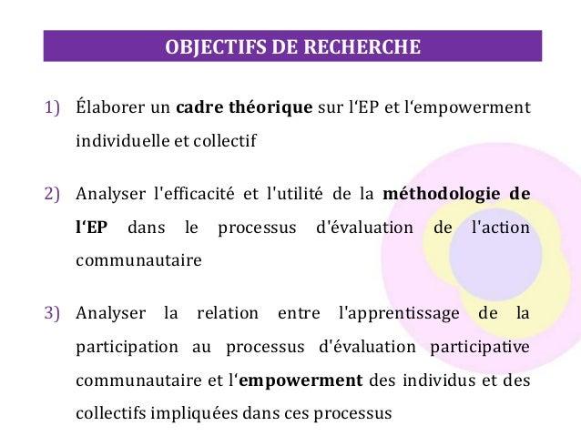 1) Élaborer un cadre théorique sur l'EP et l'empowerment individuelle et collectif 2) Analyser l'efficacité et l'utilité d...