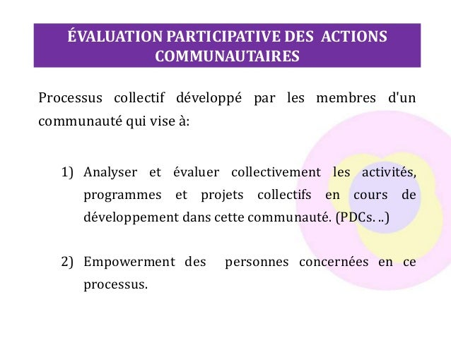 Processus collectif développé par les membres d'un communauté qui vise à: 1) Analyser et évaluer collectivement les activi...