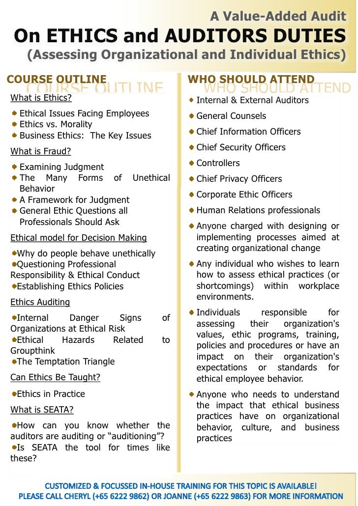 Ethics and integrity by tommy seah a value added audit on environment - Ethics compliance officer job description ...