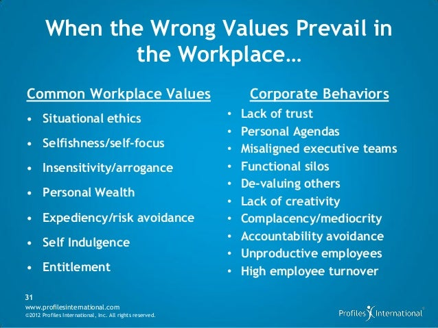 workplace values