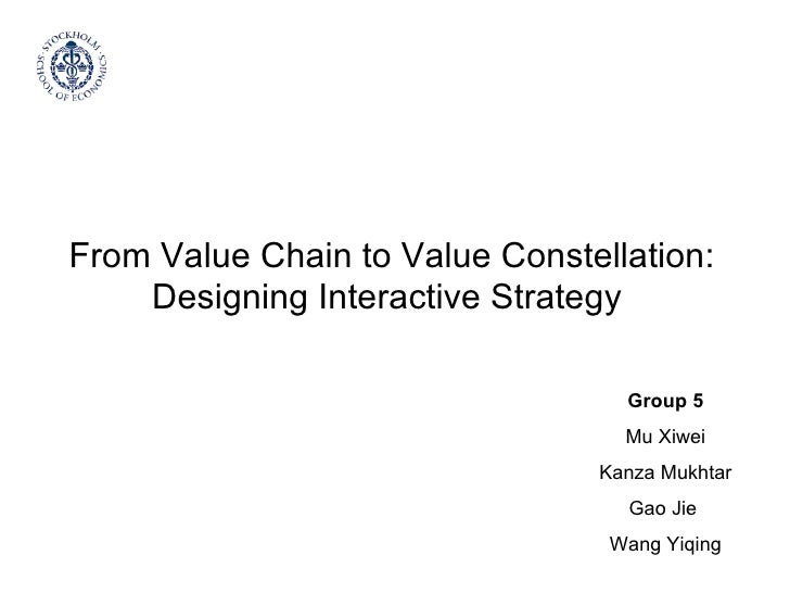 From Value Chain to Value Constellation: Designing Interactive Strategy  Group 5 Mu Xiwei Kanza Mukhtar Gao Jie  Wang Yiqing