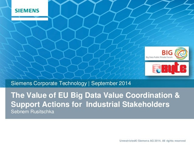 Unrestricted© Siemens AG 2014. All rights reserved  The Value of EU Big Data Value Coordination &  Support Actions for Ind...