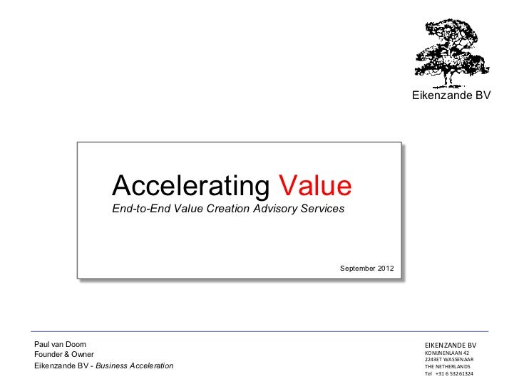 Eikenzande BV                    Accelerating Value                    End-to-End Value Creation Advisory Services        ...