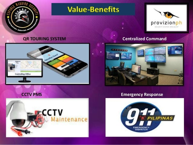 Value-Benefits QR TOURING SYSTEM Centralized Command CCTV PMS Emergency Response