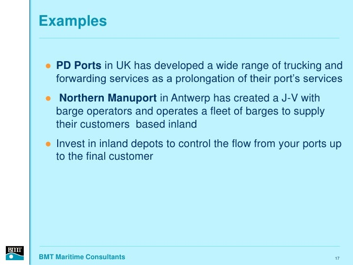 Examples      PD Ports in UK has developed a wide range of trucking and      forwarding services as a prolongation of the...
