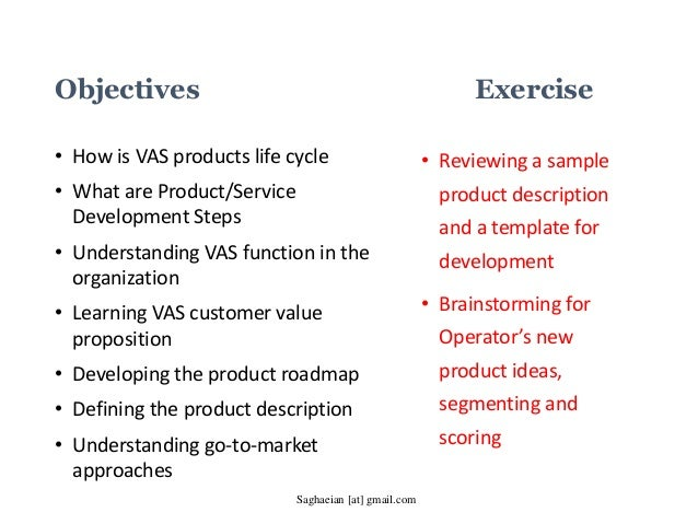 Developing Value Added Services VAS and Product Roadmap for Telecom – Sample Product Description Template