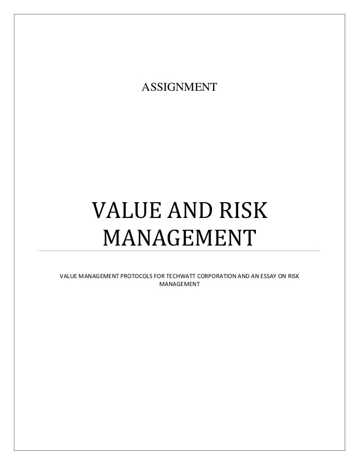 value and risk assignment sample assignment value and risk managementvalue management protocols for techwatt corporation and an essay