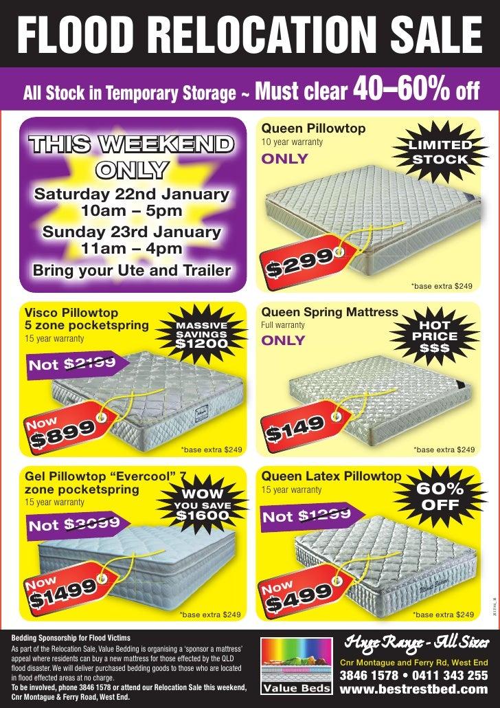 Value Beds Flood Relocation Sale Flyer