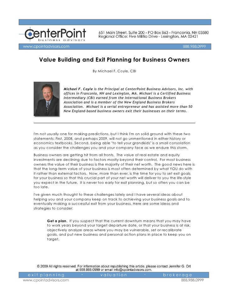 Value Building and Exit Planning for Business Owners                                    By Michael F. Coyle, CBI          ...