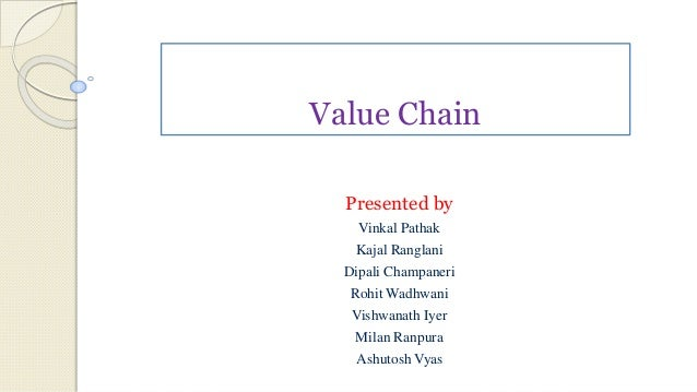 Value Chain Presented by Vinkal Pathak Kajal Ranglani Dipali Champaneri Rohit Wadhwani Vishwanath Iyer Milan Ranpura Ashut...