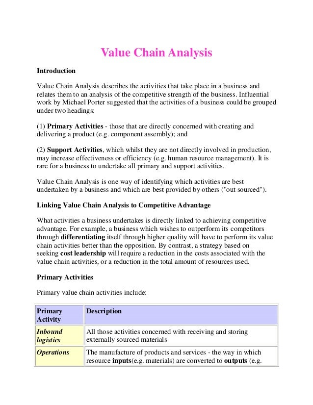 Value Chain AnalysisIntroductionValue Chain Analysis describes the activities that take place in a business andrelates the...